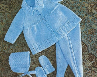 "Baby Knitting Pattern pdf 19-21"" Pram Set. Matinee Coat, Leggings, Bonnet, Mittens, Double Knit"
