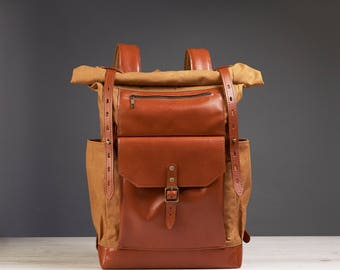 Waxed canvas backpack - Mens / Womens canvas leather backpack - School backpack.  Travel backpack.