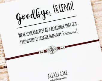 Friendship Bracelet | Best Friend Bracelet | Goodbye Gift | Compass Bracelet | Going Away Gift | Long Distance Friendship Gift