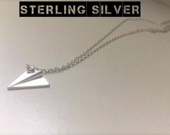 Paper Plane Necklace, Airplane Necklace, Sterling Silver Necklace, Plane Necklace, Aeroplane Necklace