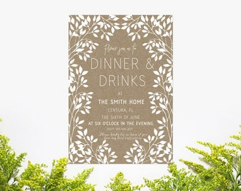 Dinner party etsy dinner and drinks invitation dinner party bbq outdoor party shower birthday stopboris Image collections