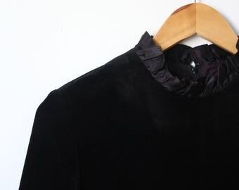 SALE 1980s black velvet ruffle midi dress with high collar - size M/ uk 12/ eu 40/ us 8