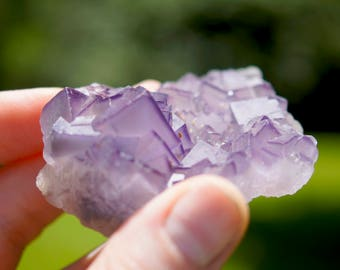 Natural Raw Purple Cubic Fluorite Crystal Cluster Specimen (2.72oz.)