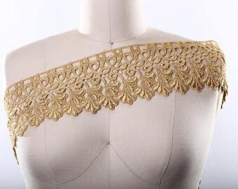 Pompeia's Gold Venice Lace Trim/ Gold Metallic Lace Intricate Design and Leaf Motif- Regal Fit For a King- Metallic Venise Lace