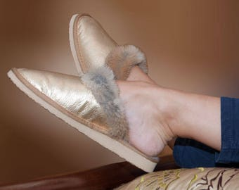 Sheepskin slippers. Gold fur slippers. Fur slippers. Merinos slippers. Shearling slippers. Leather slippers. Women's slippers with sole.