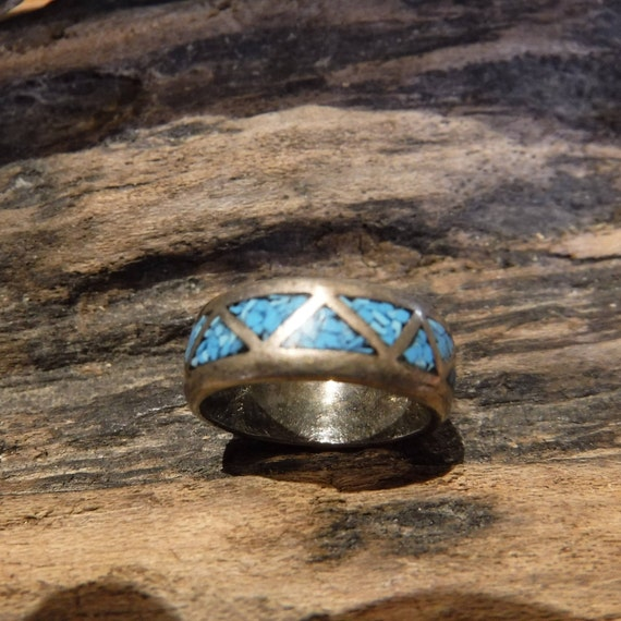 Navajo Native American Silver Turquoise Ring Weight 3.9 Grams Size 4.5 Turquoise Inlay Sterling Silver Ring Native American Sterling Rings