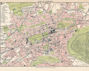 1913 Edinburgh Scotland Antique map