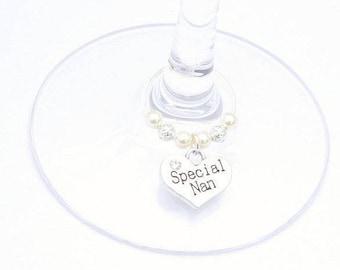 Nan Wine Glass Charm, Swarovski Crystal, Nan Birthday Gift, Grandmother Gift, Grandmother Birthday Gift, Nan Mother's Day Gift, Nanny Gift