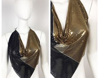 Vintage 1970s Halter / 70s Whiting and Davis Backless Deco Chainmail Top