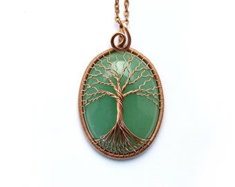 Jade-necklace Green-jade-pendant Tree-of-life-jewelry Gift-for-mum Tree-of-Life Pendant  Wire tree of life Wire tree necklace Family Tree