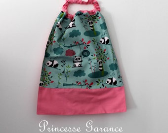 Birthday, canteen * napkin, bib, canteen, with elastic at the neck, panda, customizable, made-to-order cotton