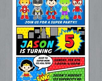 Superhero Party Invitation, Superhero Invitation, Superhero Comic Invitation, Super Heroes invitation