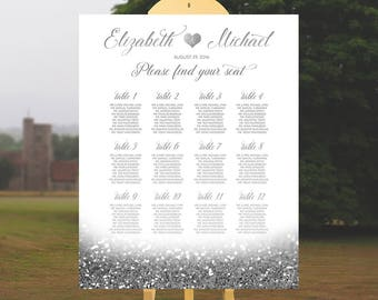 Silver Wedding Seating Chart Alphabetical Table Plan Glitter Wedding Seating Chart Poster Printable Seating Board Sign Instant Download