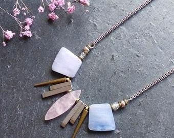 Light blue necklace Unique necklace Modern jewelry Blue statement necklace Quartz statement necklace Stone spike necklace Pastel necklace
