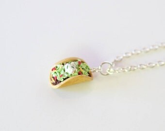 Taco Charm, food jewelry, food necklace, miniature food jewelry, taco jewelry, taco necklace