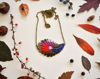 Feather Leaf shaped necklace - Handmade and inspired by nature / Powerful authentic polymer clay jewelry / For dreamers and nature lovers