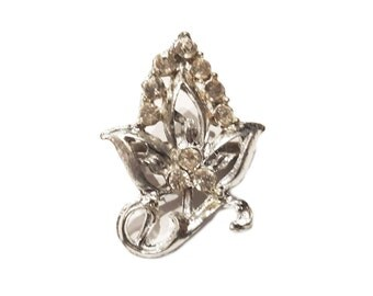 Intricate Silver Metal Rhinestone Brooch with Leaf Design and Scrolls