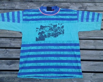 Vintage Peter B Beach Patrol Surf Grunge Neon Pink Blue Green Striped Swimming Volleyball 80's 90's Colour Block T Shirt Large
