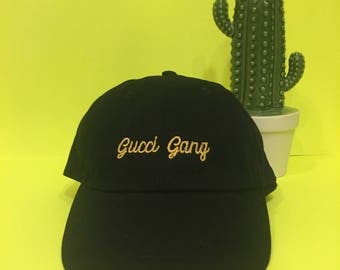 Gucci Gang Dad Hat Baseball Cap Lil Pump Gold - Black