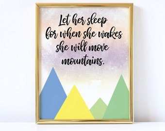 Move mountains print, Nursery wall art, Instant download
