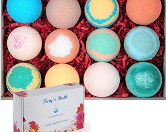 Bath bomb gift set 12 with Shea Butter & Mango Butter 2.5 oz Kays Bath