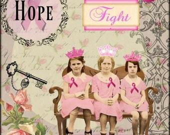 Breast Cancer, Collage Altered Art Ephemera Altered Art, Instant Download, Digital Original Sheet