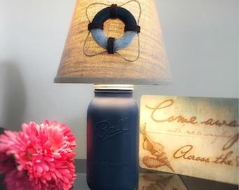 Nautical Lamp, Nautical Decor, Mason Jar Lamp, Coastal Lamp, Beach House Decor, Beach House Gift, Beach Lamp, Beach Decor, Lake Life, Lamp
