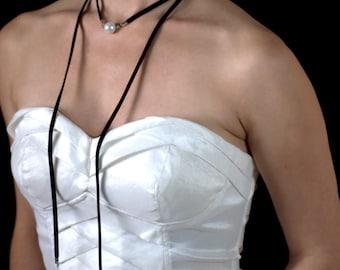 Black Suede Long Wrapped Women Choker with Pearl Pendant, Black Layered Choker, Bohemian Suede Choker Necklace, Women Necklace with pearls