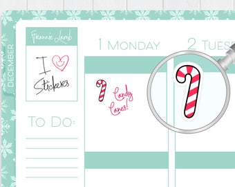 Candy Cane Stickers, Holiday Stickers, Planner Stickers, Christmas Stickers, Calendar Stickers, Kawaii Stickers