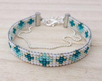 Teal color loomed bracelet, Beaded jewelry, Loom beaded bracelets with chain, Boho teal bracelet, Ibiza style bracelets, Friendship bracelet