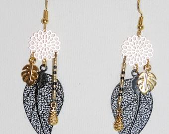Leaf earrings, pineapple, flowers, tropical leaves, prints, black Miyuki, gold, black, was 2018, trendy fashion Earrings