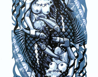 Mermaid lino print 15/15 (blue)