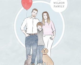Custom family portrait - illustrated portrait - personalised family illustration - family illustration with pets - personalised commission
