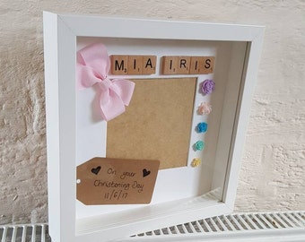 Christening/Birthday Box Frame - Birthday/Christening/Present/Gift Idea/Gift/Handmade/Personalised/Keepsake/Box Frame/Deep Frame
