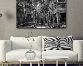 Cambodia (Tomb Raider) Temple // Large Canvas Print, Asia Decor Wall Art, Ta Prohm Buddhist Temple, Buddhism Photo, Angkor Wat Office Art