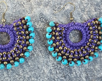 Handmade Crochet Earrings in Purple with Turquoise Beading from Oaxaca, Mexico