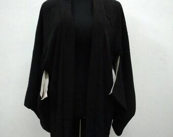 Japanese haori kimono black silk kimono jacket /kimono cardigan/kimono robe/#055