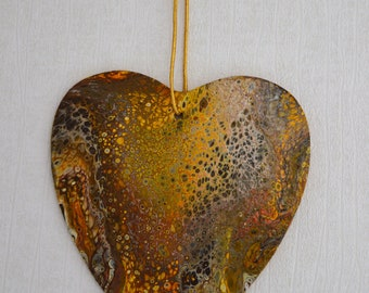 Heart of Gold - An Original Acrylic Pour Abstract Painting on Wooden Heart - 22 x 19cms - Yellow, Brown and Gold