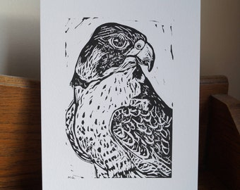 """Original, Unframed, Hand Pulled, Linocut Print - Peregrine Falcon - 6""""x4"""" on A5 Paper - lino ink paper - bird of prey"""