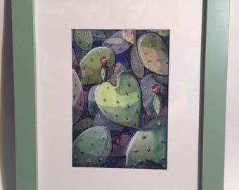 Watercolor Cacti Heart