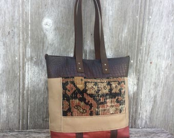 Leather Patchwork Carpetbag Tote by Stacy Leigh