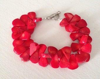 Red Teardrop Coral Bracelet