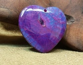 Purple Blue Dragon Vein Agate Druzy Heart