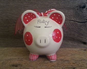 Piggy Bank Red - Personalized and Hand Painted