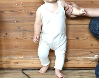 ivory romper in organic cotton and soy for baby NON NOON handmade overalls / infant cream salopettes / romper / newborn 3 6 9 12 18 months
