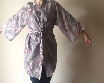 Blossom Bell Sleeve Robe | kimono style lightweight 70s vintage one size floral print waist tie lounge top tunic cover all OS muted colors M