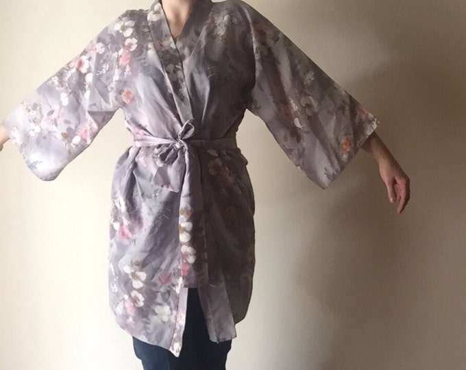 Blossom Bell Sleeve Robe   kimono style lightweight 70s vintage one size floral print waist tie lounge top tunic cover all OS muted colors M