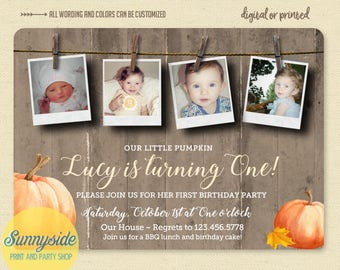 Little Pumpkin Photo Invitation, Rustic Fall 1st Birthday Invite, Printed 1st Birthday Invitation, clothesline collage, boy or girl