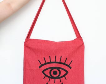 Eye Tote Bag, All-Seeing Eye, Geometric Eye, 100% recycled red fabric, one long handle, great for groceries