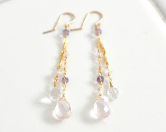 Rose Quartz Earrings, Quartz Crystal earrings, Pastel Pink stone Earrings, Long earrings, Gift For Her,